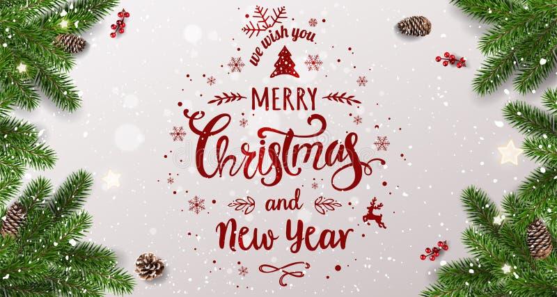 Feliz Natal tipográfico no fundo branco com ramos de árvore, bagas, caixas de presente, estrelas, cones do pinho Xmas e ano novo ilustração royalty free