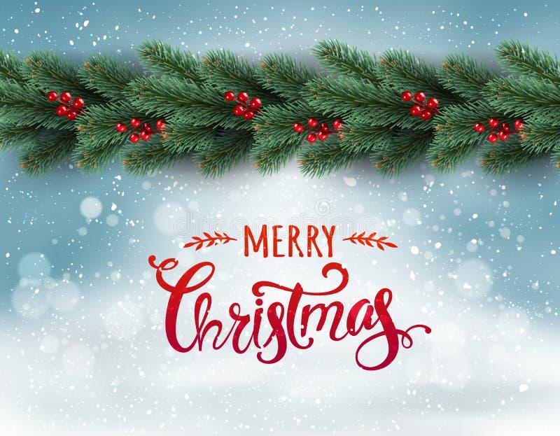 Feliz Natal tipográfico no fundo nevado com a festão dos ramos de árvore decorados com bagas, bokeh, flocos de neve ilustração royalty free