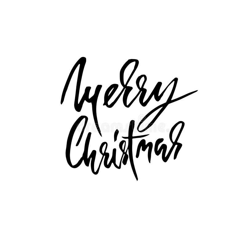 Feliz Natal tirado mão da frase Moderno seque o projeto de rotulação da escova para cartazes, t-shirt, cartões, convites, etiquet ilustração do vetor