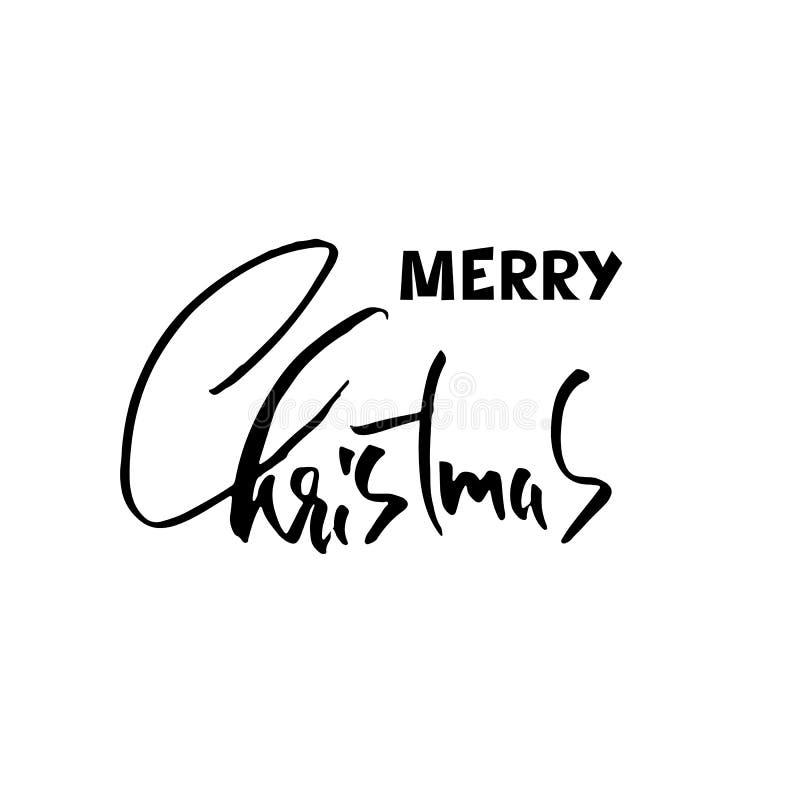Feliz Natal tirado mão da frase Moderno seque o projeto de rotulação da escova para cartazes, t-shirt, cartões, convites, etiquet ilustração royalty free