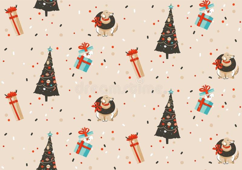 Feliz Natal tirado mão do divertimento do sumário do vetor e teste padrão sem emenda festivo rústico dos desenhos animados novos  ilustração do vetor