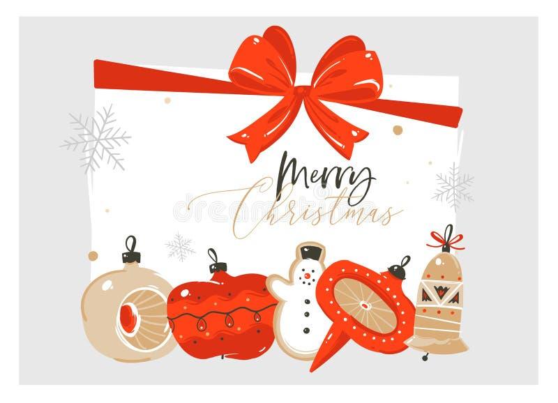 Feliz Natal tirado mão do sumário do vetor e cartão novo feliz da ilustração dos desenhos animados do ano com vintage retro ilustração royalty free
