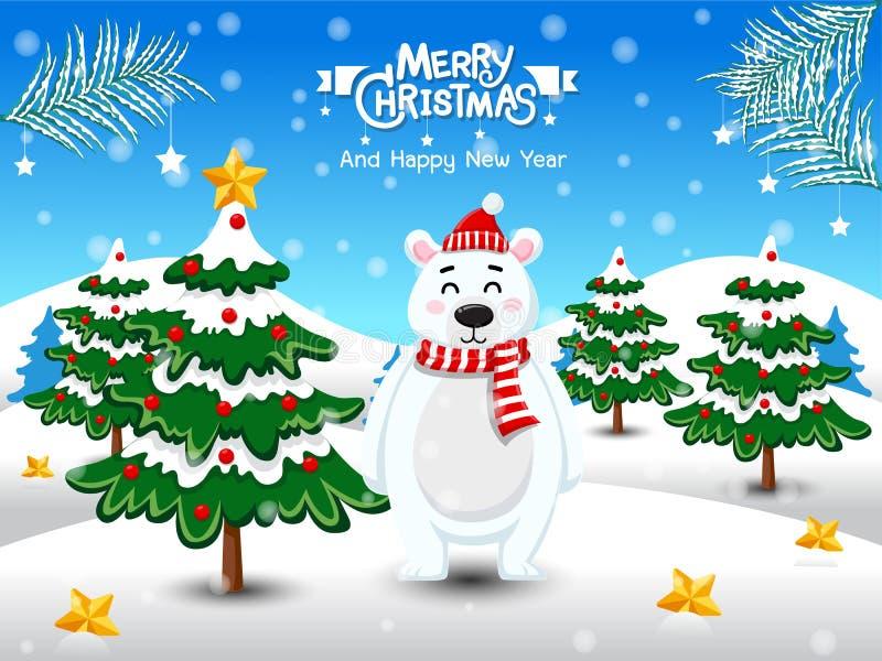 Feliz Natal Urso polar bonito com lenço vermelho e o chapéu vermelho na paisagem do inverno da cena da neve do Natal elemento dec ilustração do vetor