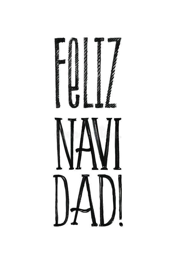 Feliz Navidad圣诞快乐减速火箭的传染媒介海报用西班牙语 黑白单色设计 手拉的墨水 皇族释放例证