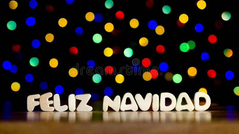Feliz navidad,在西班牙语的圣诞快乐 库存照片