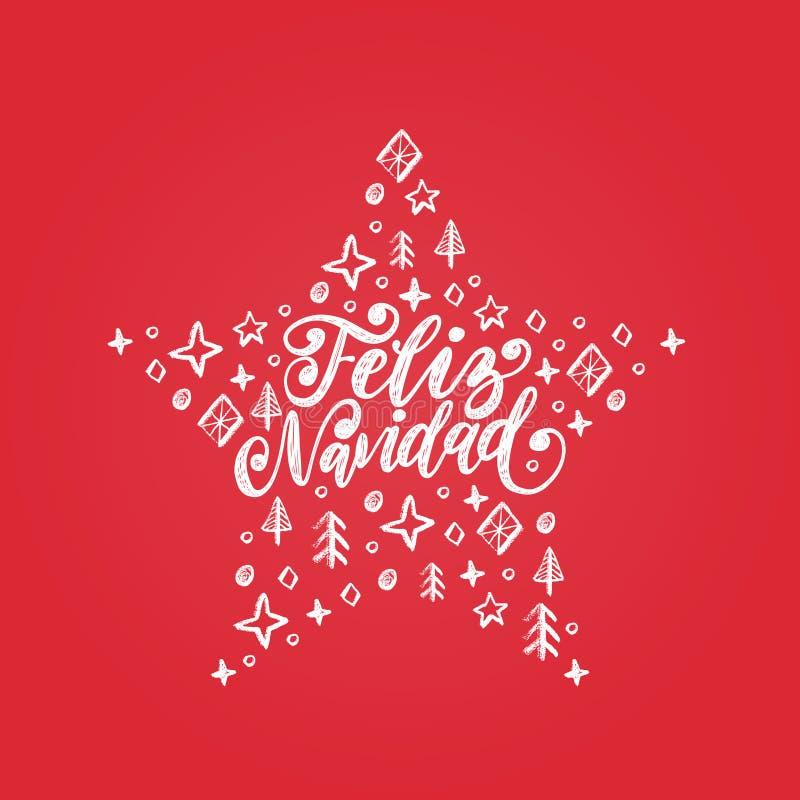 Feliz Navidad,手写的词组,翻译从西班牙语圣诞快乐 传染媒介装饰星例证 库存例证