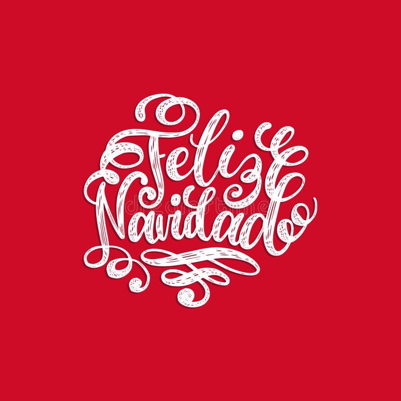 Feliz Navidad που μεταφράζεται από την ισπανική εγγραφή χεριών Χαρούμενα Χριστούγεννας στο κόκκινο υπόβαθρο Καλές διακοπές τυπογρ ελεύθερη απεικόνιση δικαιώματος