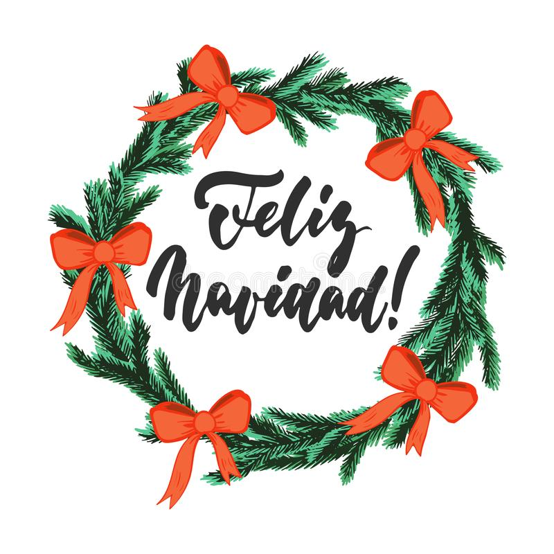 Feliz Navidad - Χριστούγεννα εγγραφής και νέα φράση καλλιγραφίας διακοπών έτους διανυσματική απεικόνιση