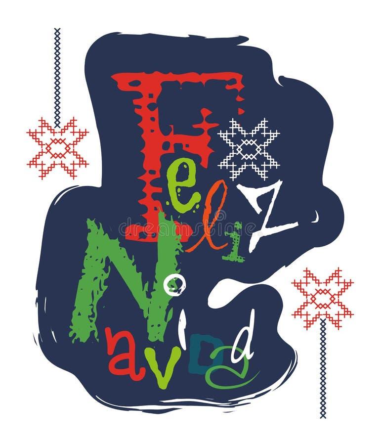 Feliz Navidad и оно значит с Рождеством Христовым иллюстрация вектора