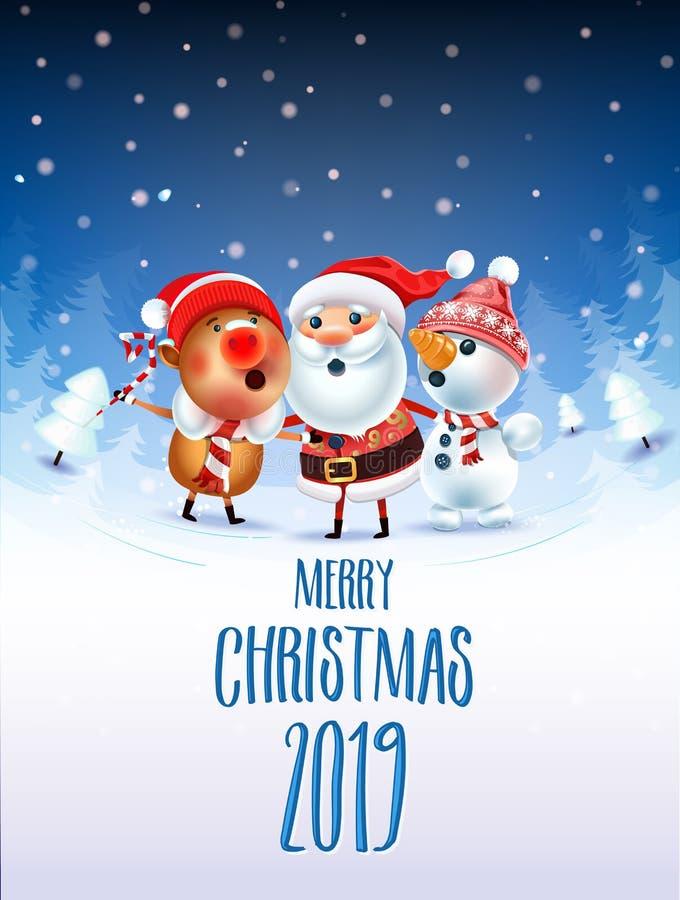 Feliz Navidad 2019 ilustración del vector