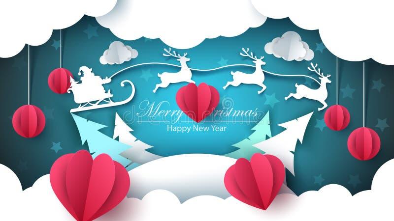 Feliz Navidad, Feliz Año Nuevo - ejemplo del papel stock de ilustración