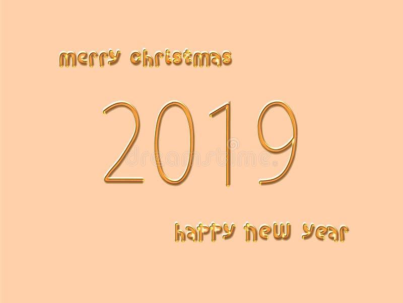 Feliz Navidad Feliz Año Nuevo 2019  Ilustración EPS 10 del vector stock de ilustración