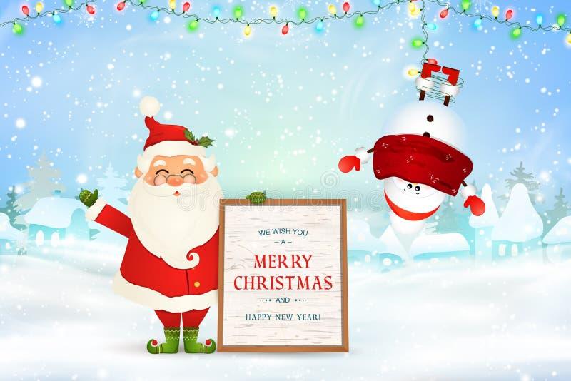 Feliz Navidad Feliz Año Nuevo Santa Claus alegre lleva a cabo al tablero de mensajes de madera, muñeco de nieve en invierno de la ilustración del vector