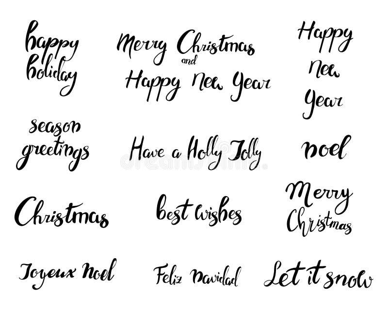 Feliz Navidad Feliz Año Nuevo, tarjeta 2018 de felicitación Sistema de Navidad de la tipografía con la decoración dibujada mano d ilustración del vector