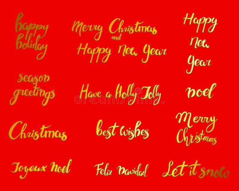 Feliz Navidad Feliz Año Nuevo, tarjeta 2018 de felicitación Sistema de Navidad de la tipografía con la decoración dibujada mano d stock de ilustración