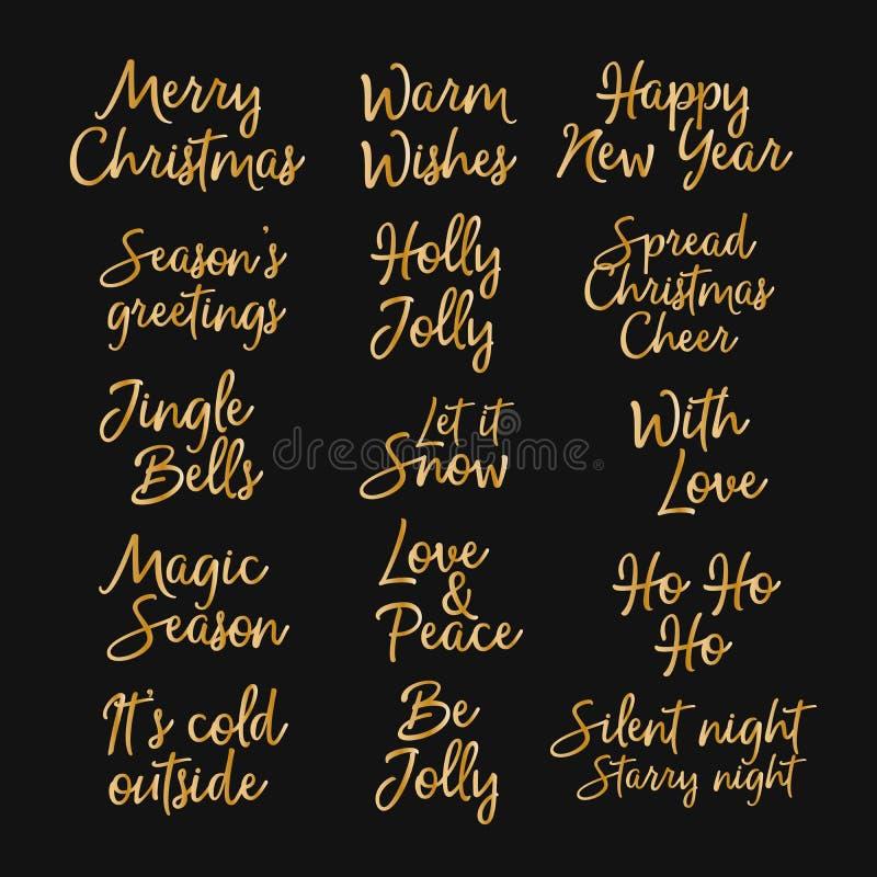 Feliz Navidad, Feliz Año Nuevo y buenas fiestas letras creativas Letras del oro aisladas en fondo negro Diseñado para el web ilustración del vector