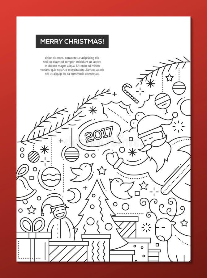 Feliz Navidad - alinee la plantilla A4 del cartel del folleto del diseño libre illustration