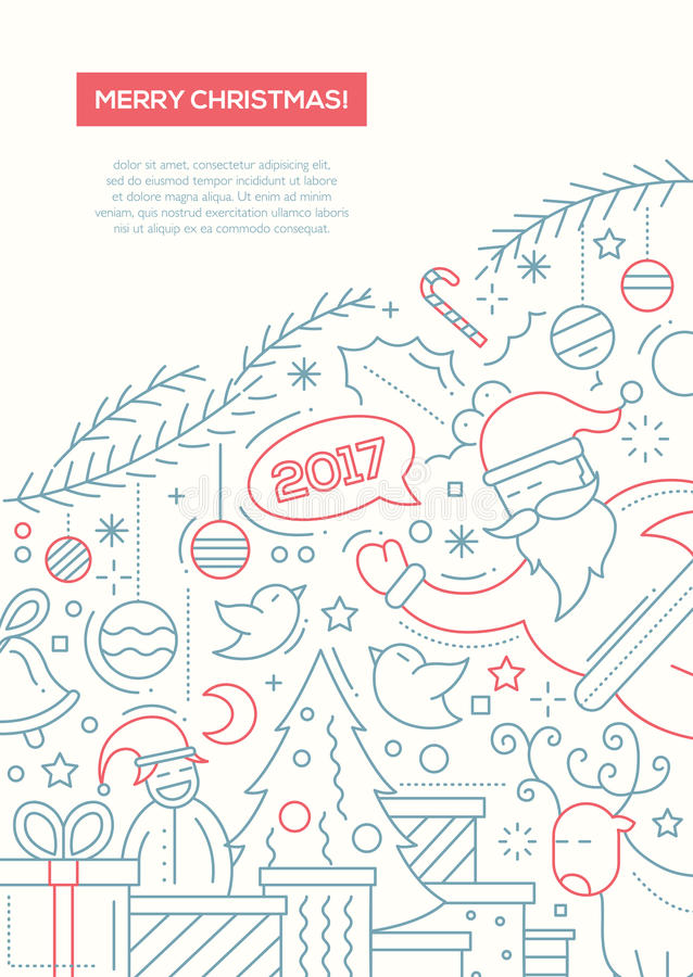 Feliz Navidad - alinee la plantilla A4 del cartel del folleto del diseño ilustración del vector