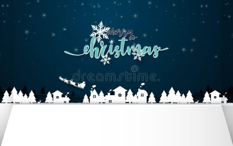 Feliz Navidad  Arte del papel y del arte ilustración del vector