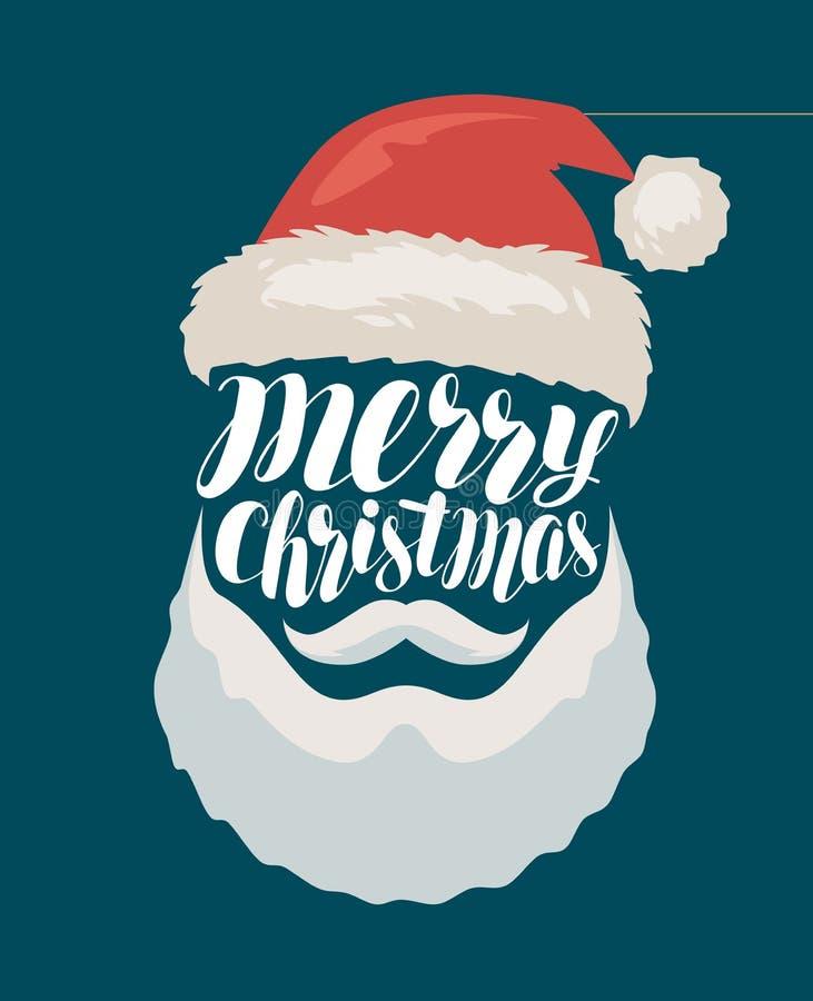Feliz Navidad, bandera o tarjeta de felicitación Papá Noel _2 Ejemplo del vector de las letras ilustración del vector