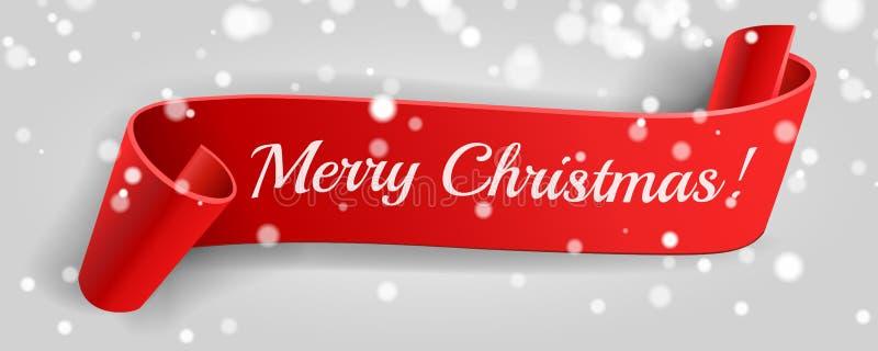 Feliz Navidad Bandera roja Cinta, nieve, bokeh 3D detalló el papel curvado realista Ejemplo del vector, bandera roja de la venta ilustración del vector