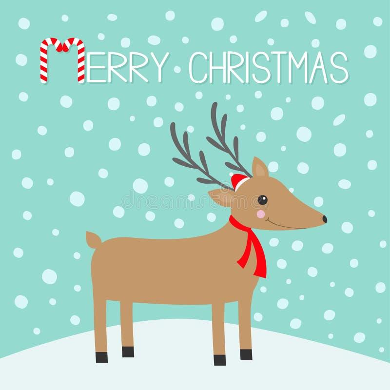 Feliz Navidad Bastón de caramelo Cabeza de Reindeeer Ciervos lindos con los cuernos, sombrero rojo de Santa Claus, bufanda de la  stock de ilustración