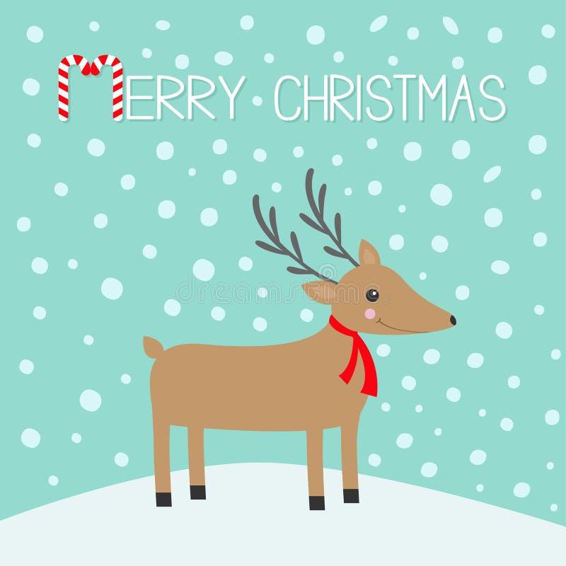 Feliz Navidad Bastón de caramelo Ciervos lindos con los cuernos, bufanda roja de la historieta Cabeza de Reindeeer snowdrift Fond ilustración del vector