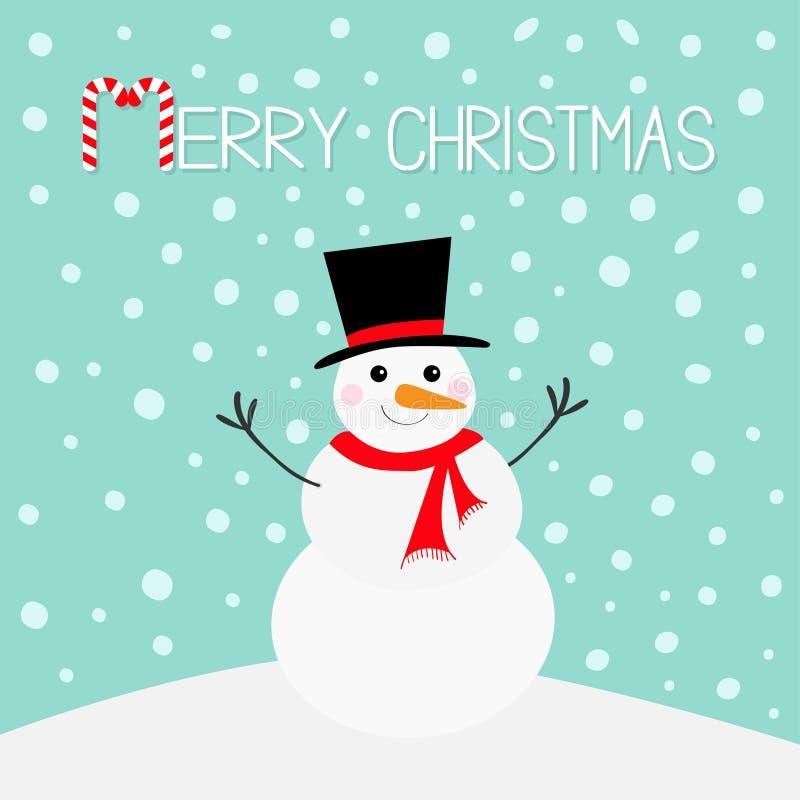 Feliz Navidad Bastón de caramelo Muñeco de nieve, nariz de la zanahoria, sombrero, bufanda roja y copos de nieve Carácter diverti ilustración del vector