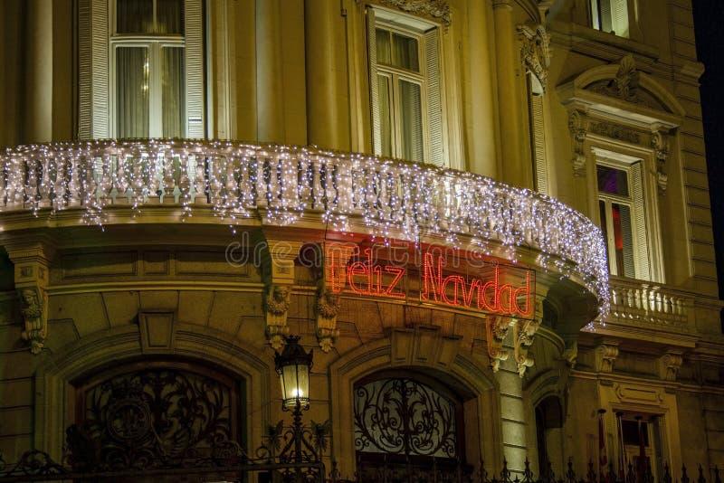 Feliz Navidad - boże narodzenie znak robić światła zdjęcia stock