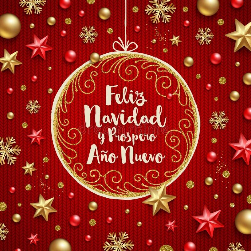 Feliz navidad - Bożenarodzeniowi powitania w hiszpańszczyznach Wakacyjny powitanie w ozdobnej boże narodzenie dekoracji i ramie ilustracji