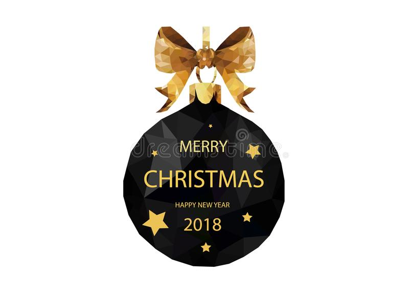 Feliz Navidad bouble de la Navidad polivinílica baja negra y una Feliz Año Nuevo imagenes de archivo