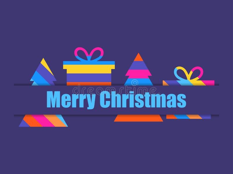 Feliz Navidad Caja coloreada multi del árbol de navidad y de regalo Vector libre illustration