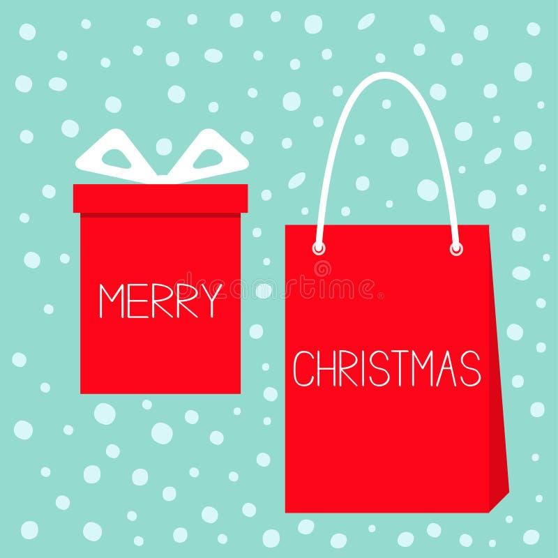 Feliz Navidad Caja de regalo roja con el arco de la cinta, venta de papel del panier Sistema del presente de Giftbox Objetos lind libre illustration