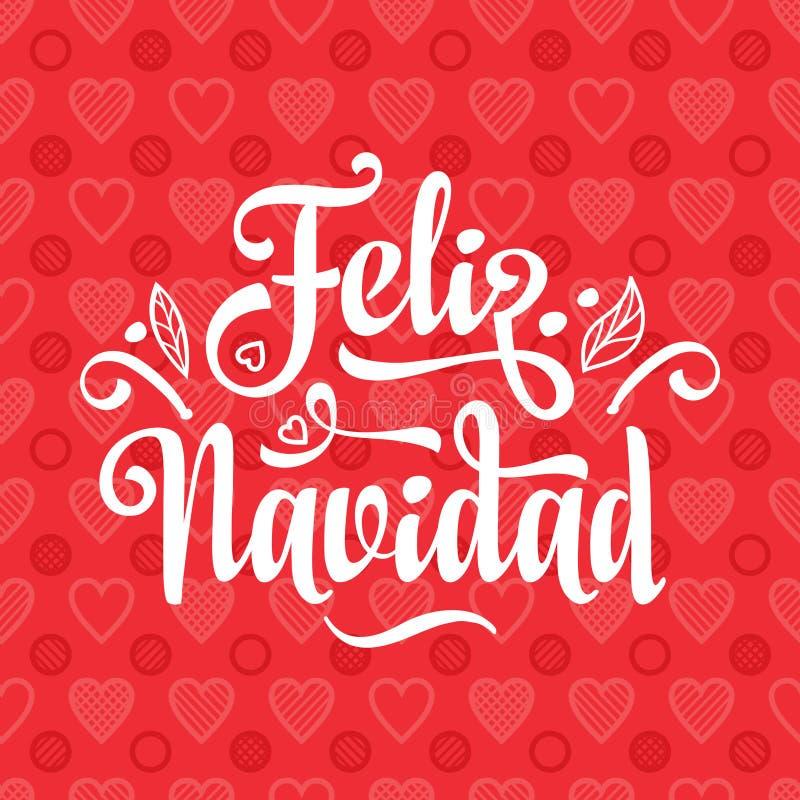 Feliz Navidad Cartão do Xmas na língua espanhola ilustração royalty free