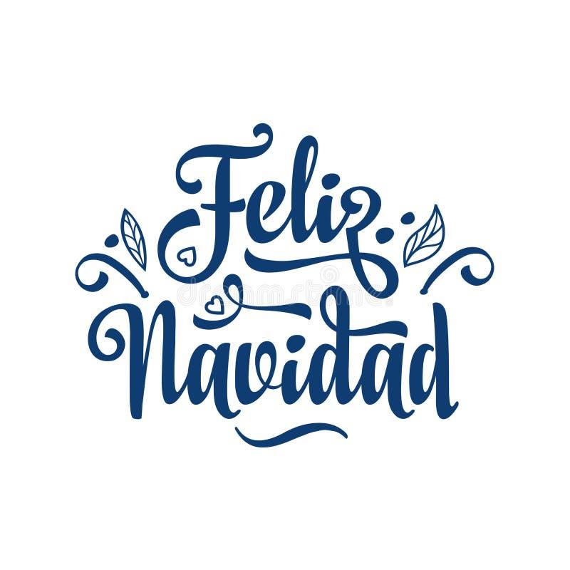 Feliz Navidad Cartão do Xmas na língua espanhola ilustração stock