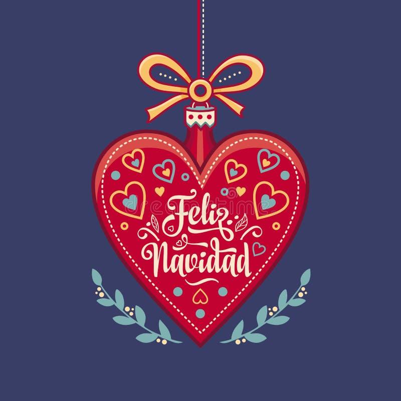 Feliz Navidad Cartão do Xmas na língua espanhola Aqueça desejos para boas festas ilustração do vetor