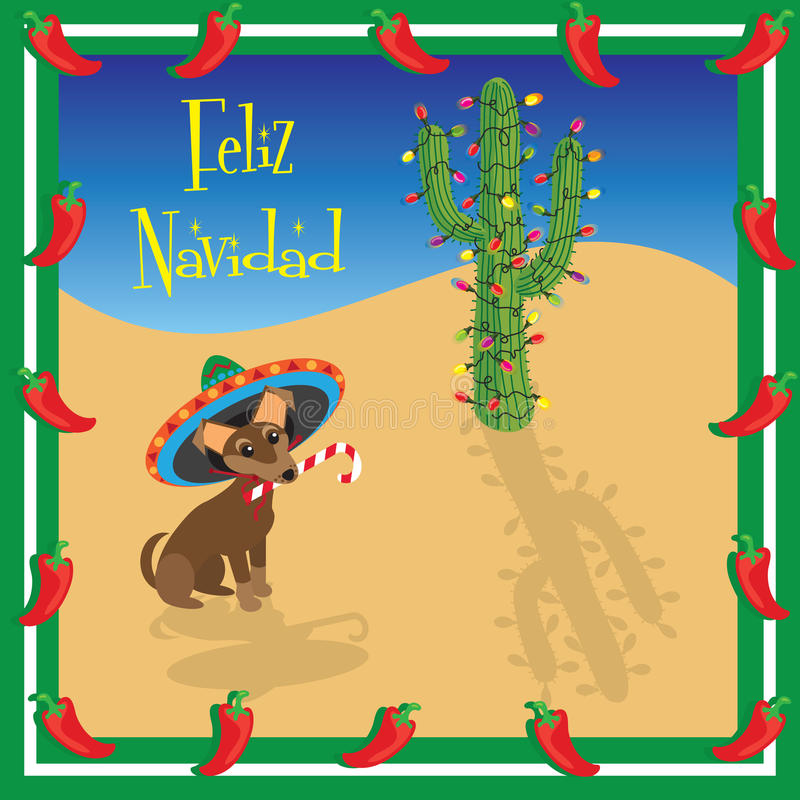 Feliz Navidad Chihuahua. Chihuahua puppy wears a sombrero with a decorated christmas cactus royalty free illustration