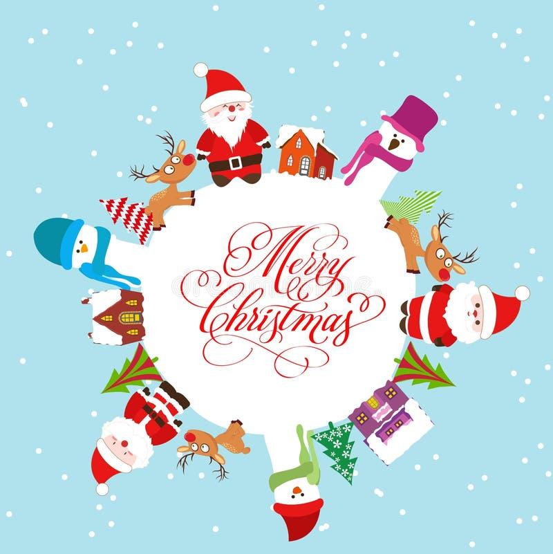 Feliz Navidad con Papá Noel, muñeco de nieve, árboles de navidad en la tierra ilustración del vector