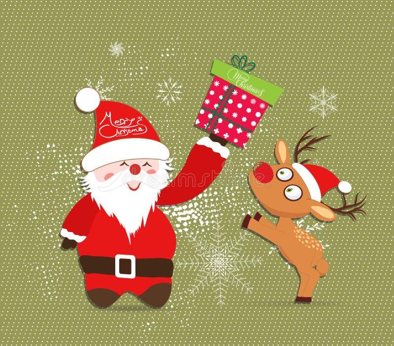 Feliz Navidad con Papá Noel y los ciervos, ejemplos del regalo stock de ilustración