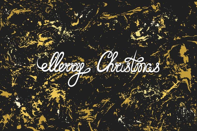 Feliz Navidad Dé las letras en una textura de oro brillante negra grunge Saludo, tarjeta de la invitación, bandera, etiqueta ilustración del vector