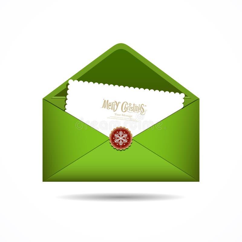Feliz Navidad de la carta verde del sobre ilustración del vector