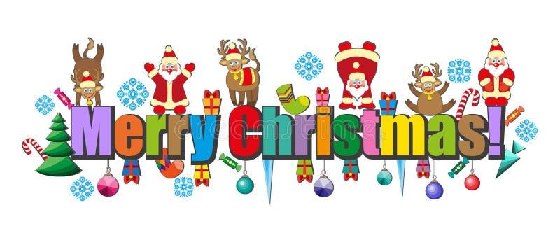 Feliz Navidad de la Feliz Navidad de los compañeros de la Feliz Navidad de las letras ilustración del vector