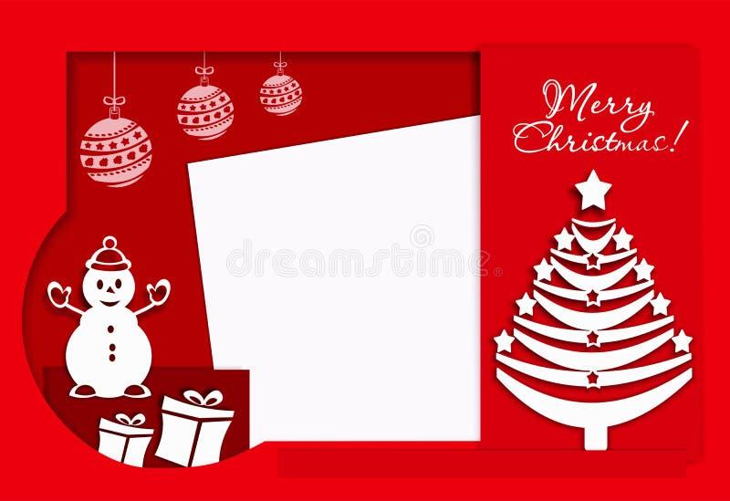 Feliz Navidad de la postal con el muñeco de nieve y el árbol del Año Nuevo, rojo, bandera, rojo, colorida, stock de ilustración