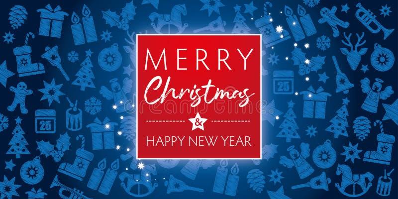 Feliz Navidad de la tarjeta de felicitación y Feliz Año Nuevo ilustración del vector