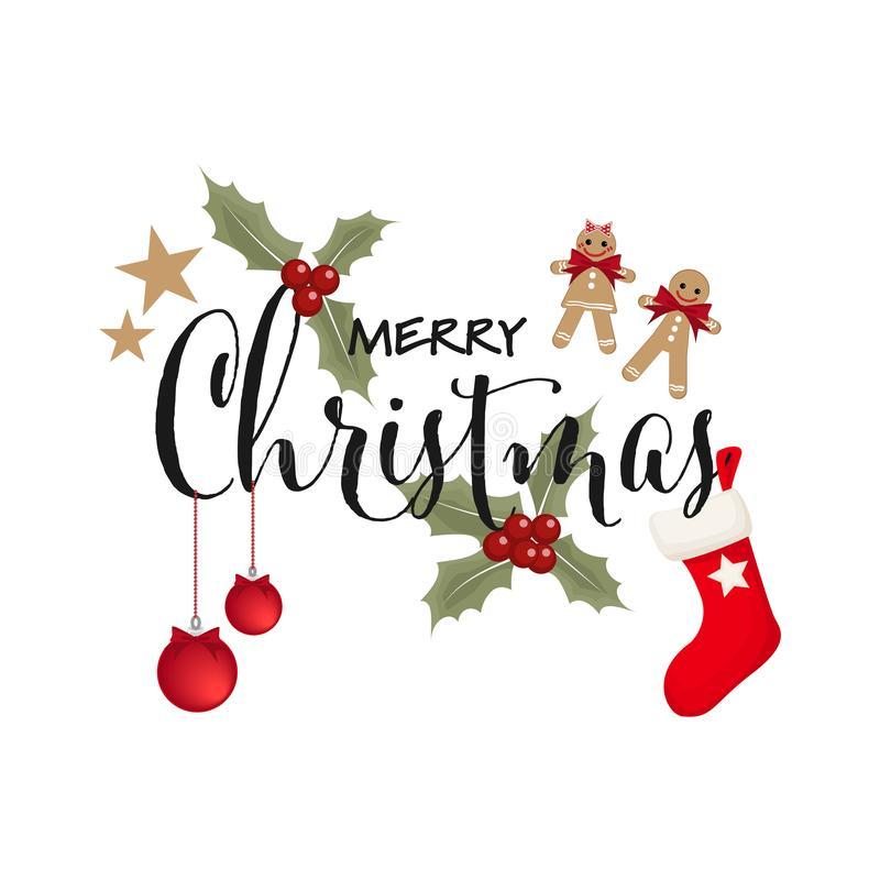 Feliz Navidad decorativa con los elementos de la Navidad foto de archivo libre de regalías