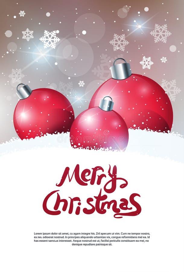 Feliz Navidad del cartel creativo del día de fiesta que saluda sobre bandera roja de las bolas de la decoración con el espacio de stock de ilustración