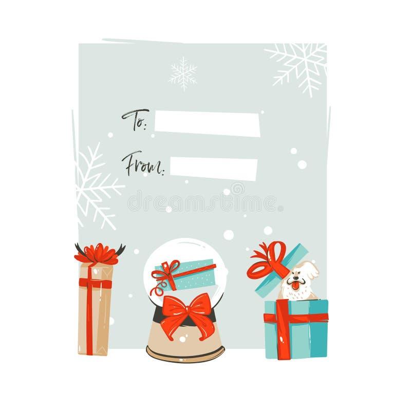 Feliz Navidad del extracto exhausto del vector de la mano y nueva plantilla feliz de la etiqueta de la tarjeta de felicitación de stock de ilustración