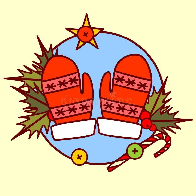 Feliz Navidad del icono lindo de las manoplas y colección dibujada mano de las vacaciones de invierno del concepto de la Feliz Añ ilustración del vector
