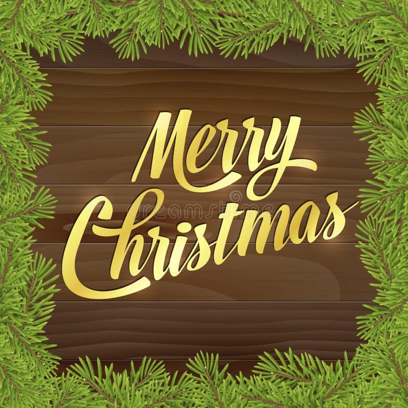 Feliz Navidad del oro en la tarjeta de felicitación de madera del fondo ilustración del vector