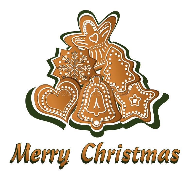 Feliz Navidad del pan de jengibre stock de ilustración